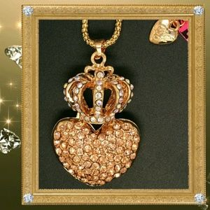 Betsey Johnson Heart/ Crown Necklace